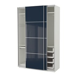 PAX Wardrobe, White Hokksund, High Gloss Black Blue