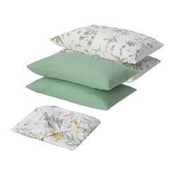 STRANDKRYPA 5-piece bedlinen set, floral patterned, white Thread count: 144 /inch²