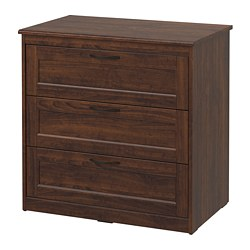 SONGESAND 3-drawer chest, brown