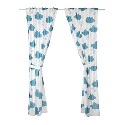 DJUNGELSKOG curtains with tie-backs, 1 pair, cloud, blue