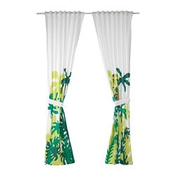DJUNGELSKOG curtains with tie-backs, 1 pair, monkey, green