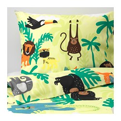 DJUNGELSKOG quilt cover and pillowcase, animal, green
