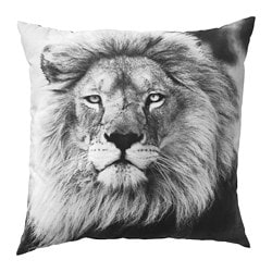 URSKOG cushion, lion, gray