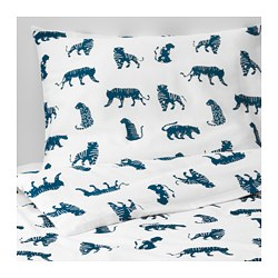 URSKOG duvet cover and pillowcase(s), tiger, blue