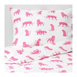 URSKOG duvet cover and pillowcase(s), tiger, pink