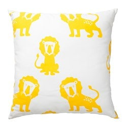 DJUNGELSKOG cushion, lion, yellow
