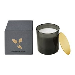 NJUTNING scented candle in glass, Blossoming bergamot, gray