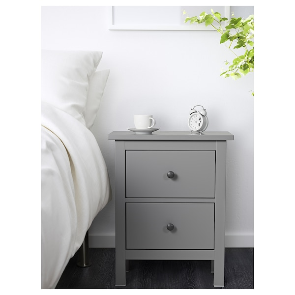 hemnes kommode mit 2 schubladen grau ikea. Black Bedroom Furniture Sets. Home Design Ideas