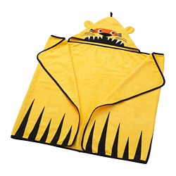 DJUNGELSKOG towel with hood, tiger, yellow