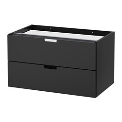 NORDLI modular 2-drawer chest, anthracite