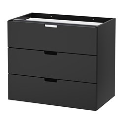 NORDLI modular 3-drawer chest, anthracite