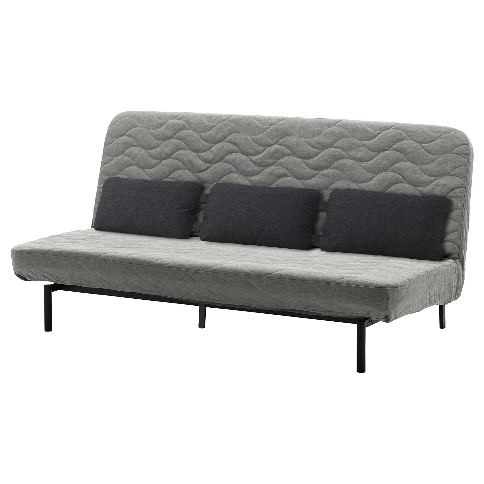 Nyhamn Sofa Bed With Triple Cushion With Foam Mattress Knisa Grey