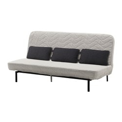 NYHAMN Sofa-bed with triple cushion - with pocket spring mattress/Knisa  grey/beige - IKEA