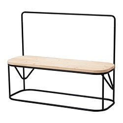 HJÄRTELIG, Bench with clothes rack, pine, black