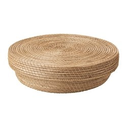 HJÄRTELIG basket with lid, seagrass
