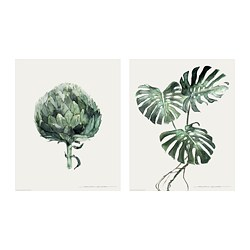 TVILLING, Poster, set of 2, Green leaves