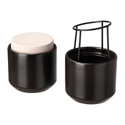 HJÄRTELIG decorative box, set of 2, black