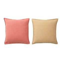 HJÄRTELIG cushion cover, golden brown, light brown-pink