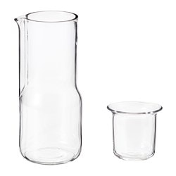 HJÄRTELIG carafe with glass, clear glass