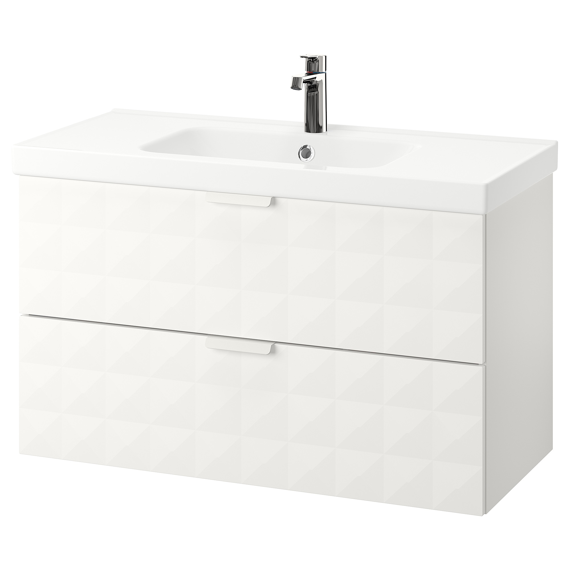 GODMORGON / ODENSVIK Sink cabinet with 2 drawers - Resjön white - IKEA