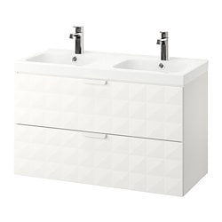 GODMORGON /  ODENSVIK wash-stand with 2 drawers, Resjön white