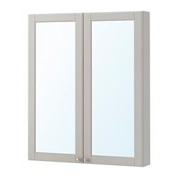 GODMORGON mirror cabinet with 2 doors, Kasjön light grey