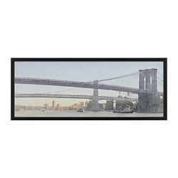 BJÖRKSTA picture with frame, bridges, black