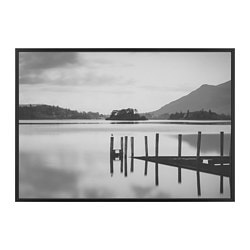 BJÖRKSTA picture with frame, lake, black