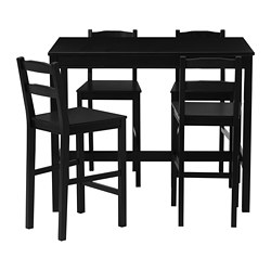 JOKKMOKK bar table and 4 bar stools, black-brown