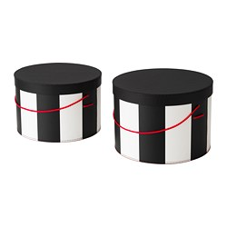 OMEDELBAR box with lid, set of 2, black, white