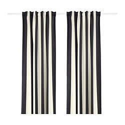OMEDELBAR curtains, 1 pair, black, white