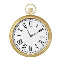 OMEDELBAR wall clock, metal antique effect