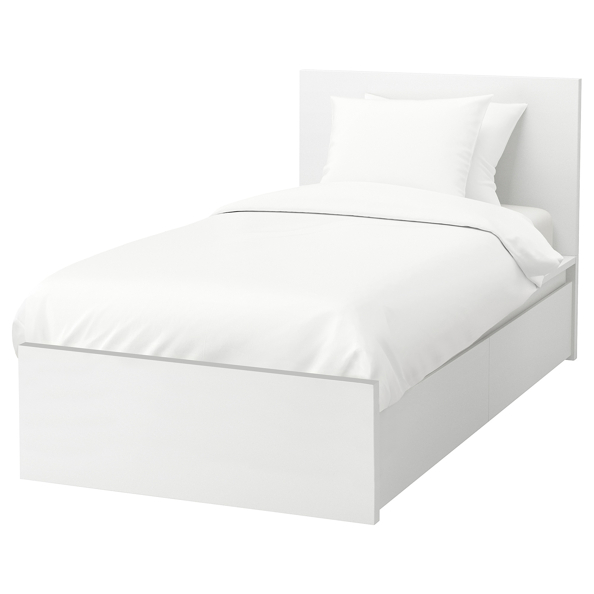 MALM High bed frame/2 storage boxes - Luröy, white - IKEA