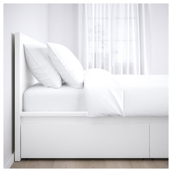 Malm Bed Frame High W 4 Storage Boxes White Ikea
