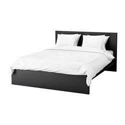 MALM bed frame, high, black-brown, Luröy