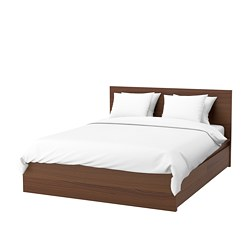 MALM bed frame, high, w 4 storage boxes, brown stained ash veneer, Lönset