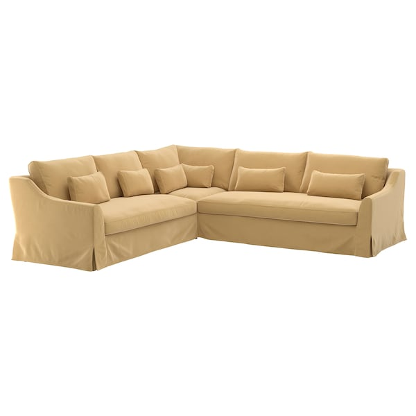 Sectional,5 seat/sofa right FÄRLÖV Djuparp yellow-beige