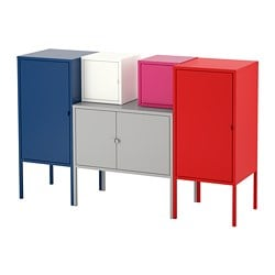 LIXHULT storage combination, dark blue grey/white, pink/red