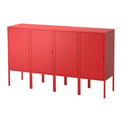 LIXHULT storage combination, red Width: 140 cm Depth: 35 cm Height: 82 cm