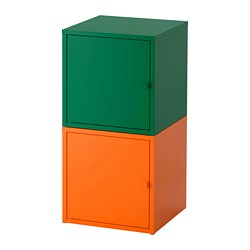 LIXHULT storage combination, dark green, orange