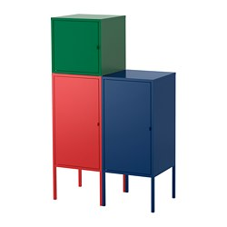 LIXHULT storage combination, red dark blue, dark green