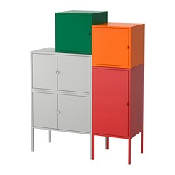 LIXHULT storage combination, grey dark green, red/orange