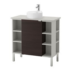 LILLÅNGEN/ VISKAN /  GUTVIKEN sink cabinet/1 door/4 end units, black-brown, gray