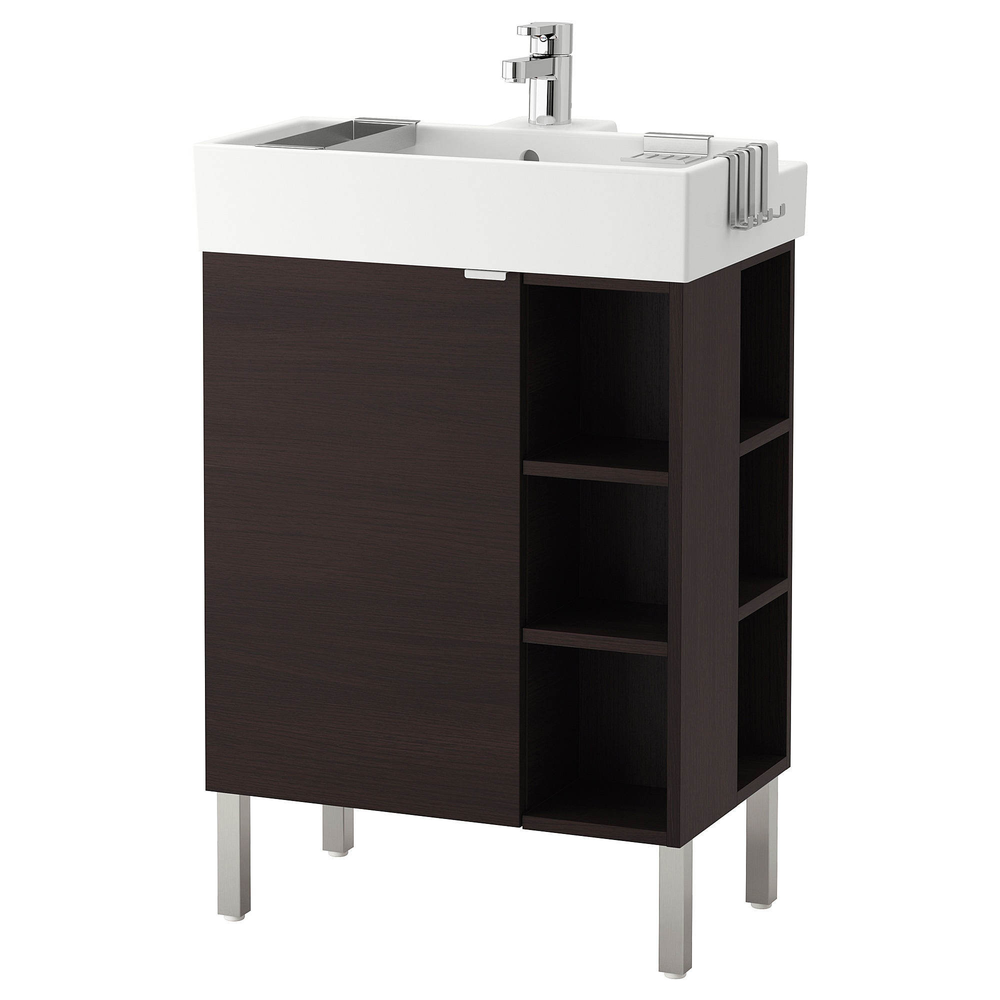 LILL NGEN sinK cabinet 1 door 2 end units  black brown Width Bathroom Vanities Countertops IKEA