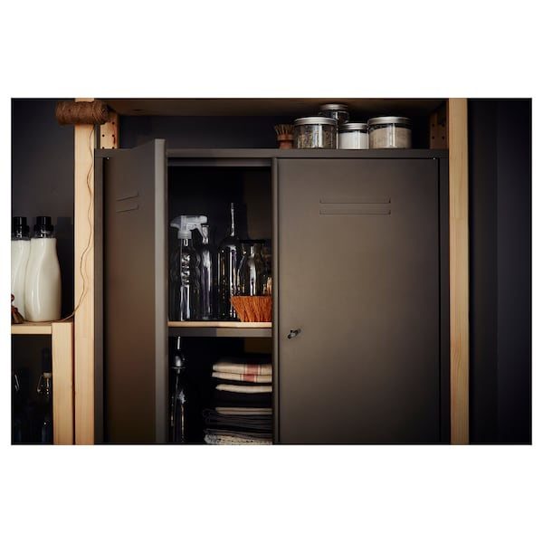 ivar schrank mit t ren grau ikea. Black Bedroom Furniture Sets. Home Design Ideas