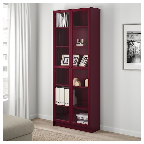 Billy Bookcase With Glass Doors Dark Red Ikea