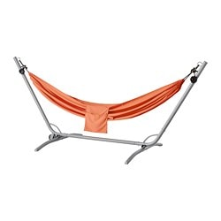 GÅRÖ / RISÖ hammock with stand, gray, pale orange