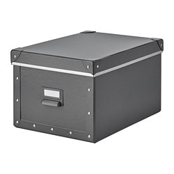 FJÄLLA storage box with lid, dark grey