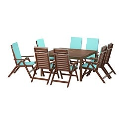 ÄPPLARÖ table+ and 8 reclining chairs, brown stained Nästön, turquoise beige