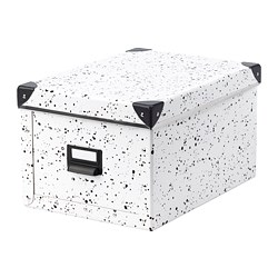 FJÄLLA storage box with lid, white, spotted